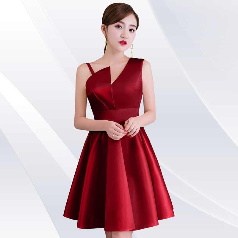 Burgundy แฟชั่นซาตินชุด Elegant Party Dresses ฤดูร้อนใหม่สตรีสั้น Qipao Lace Mini Slim Robe Retro Vestido S-XXL