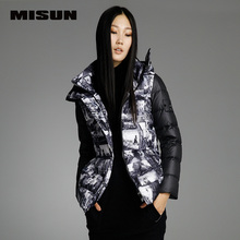 MISUN winter jacket women with a hood long-sleeve thickening patchwork geometric zippers short print outwear down coat & parkas