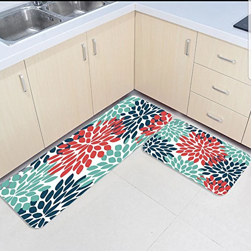 2 pièces cuisine tapis et tapis ensemble Dahlia Pinnata fleurs Floral maison Deocr antidérapant zone coureur paillassons tapis