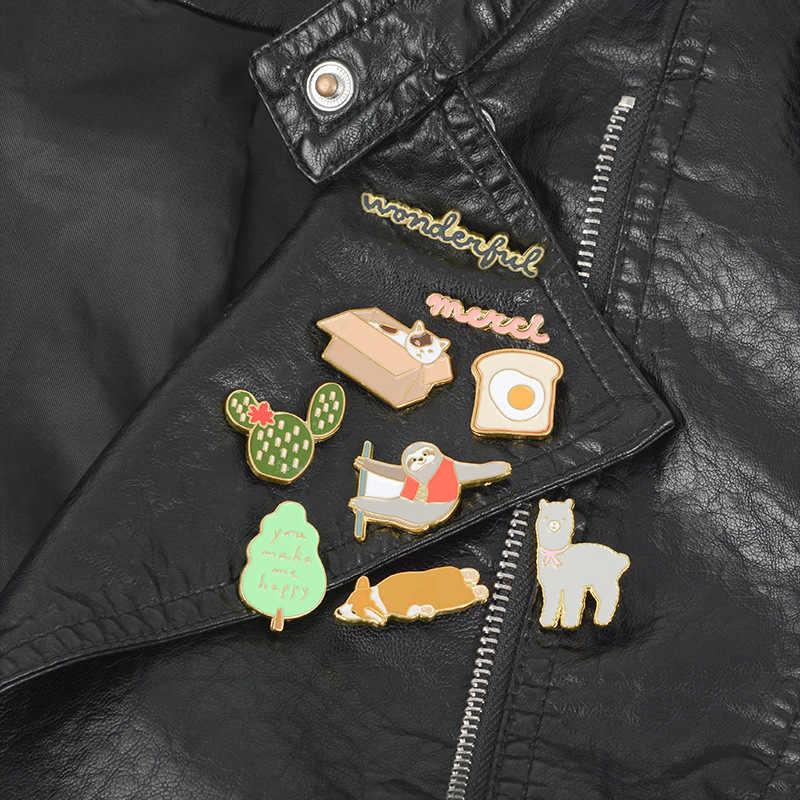 Corgi Luiaard Alpaca Kat Emaille Pin Toast Cactus Boom Merci badge broche Revers pin Denim Jeans overhemd zak Cartoon Sieraden gift
