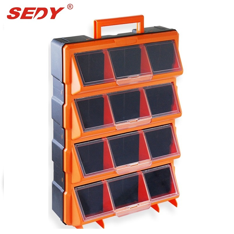 12 Bins Storage Cabinet Tool Box Chest Case Plastic Organizer Toolbox Bin transparent tool box double side plastic toolbox storage tool multifunction tool case