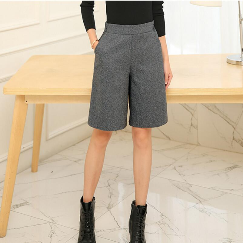 2018 New Autumn Winter Women Knee Length Woolen   Pants   High Waist Woolen Wide Leg   Pants     Capris   Casual Boots   Pants   Women SK228