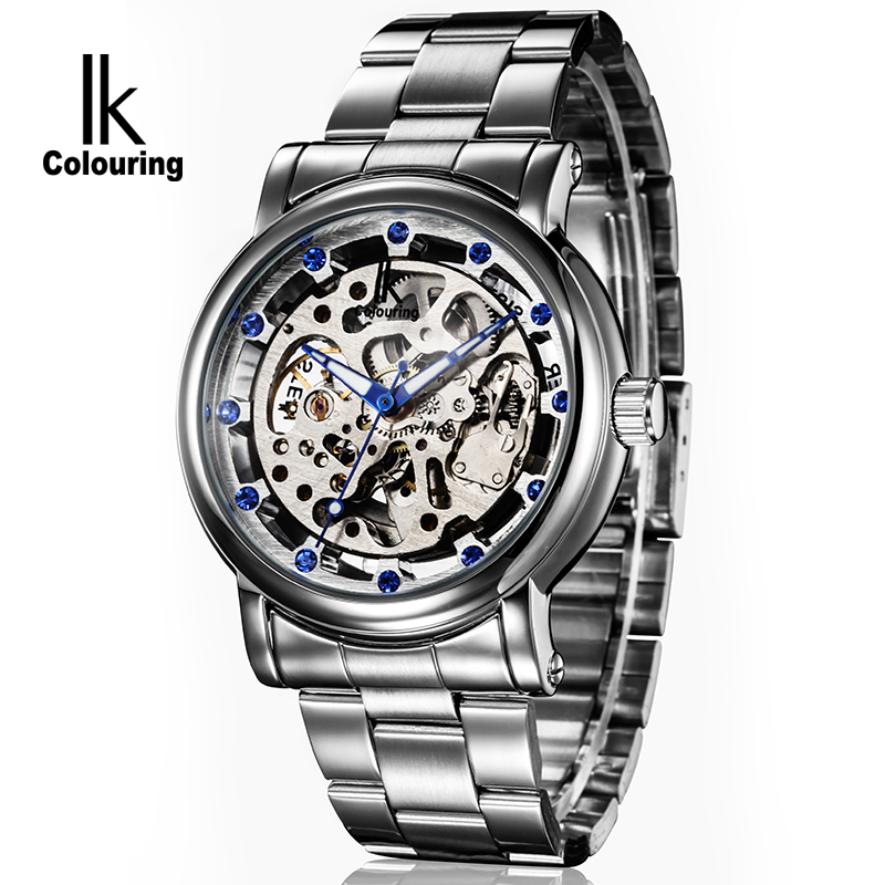 цена на 2017 Luxury IK Coloring Casual Men's Silver Skeleton Dial Auto Mechanical Wristwatch with Box Free Ship