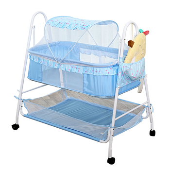 Baby Rocking Cradle with big basket 85cm length, Swing Baby Cradle of Side Mesh Fabric, Infant Rocking Bed with Side Pocket