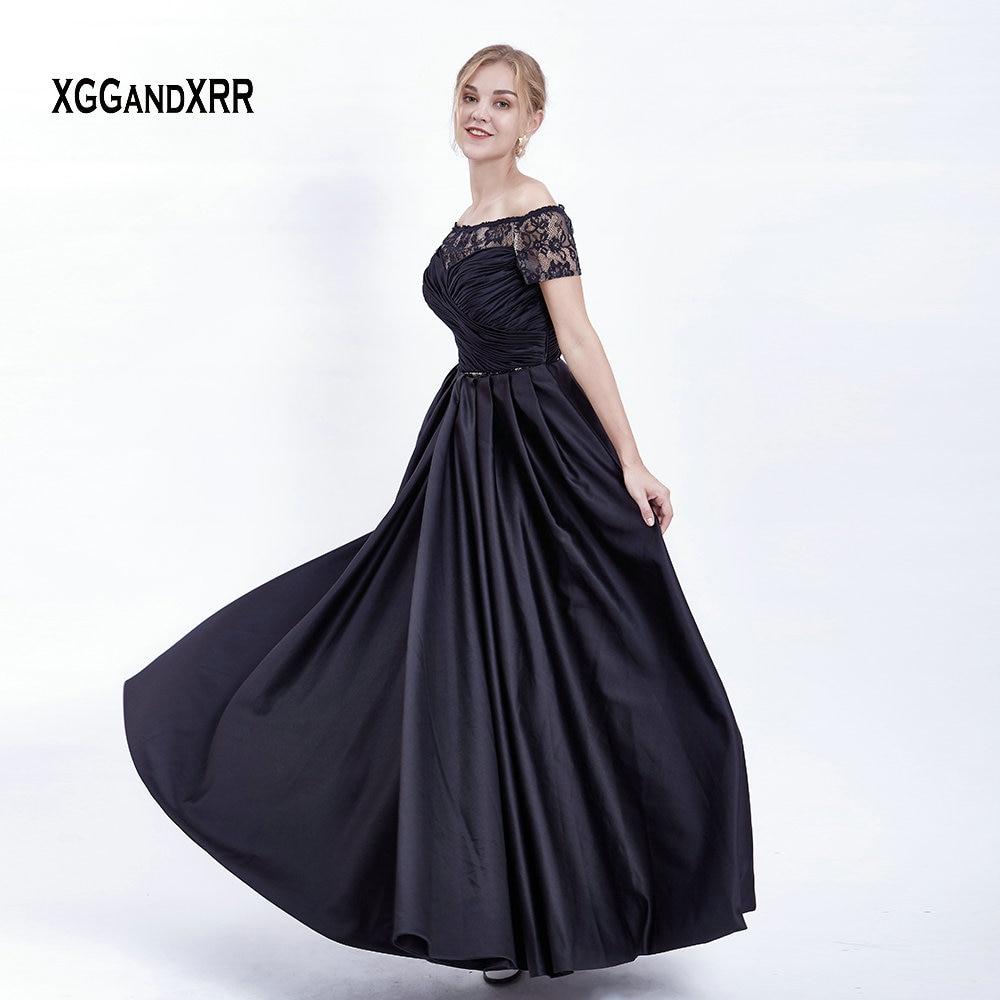 b710957eb Comprar Largo y negro elegante vestido de Prom satinado 2019 con falda  desmontable manga corta vestido de noche de encaje pinzas