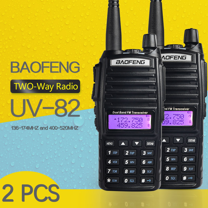 2 PCS BaoFeng UV 82 Dual Band 136 174 400 520 MHz FM Ham Two