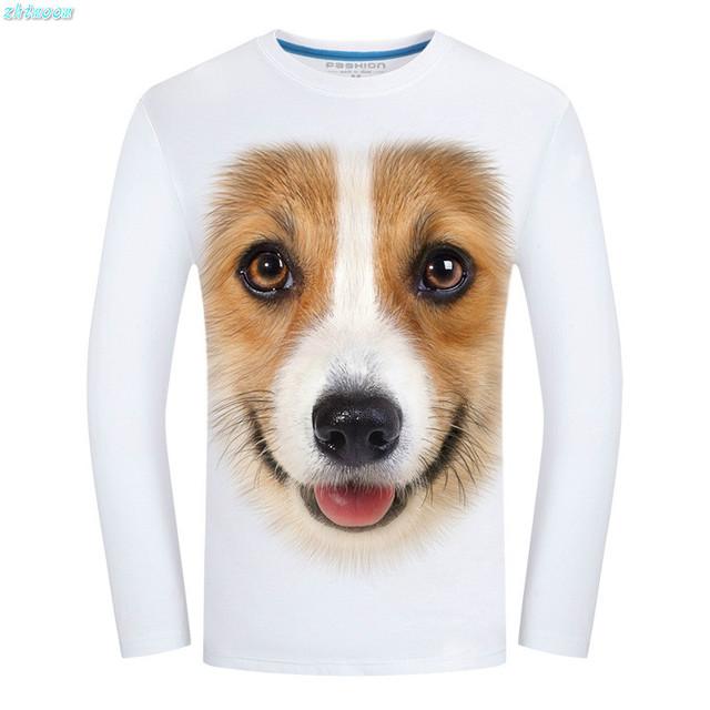 2017 Primavera Camiseta de Los Niños Niños Niños de Manga Larga Impreso de Algodón 3D perro Camisetas Divertidas para Los Hombres Adolescentes Niños Tapas de la Ropa 5xl 6xl