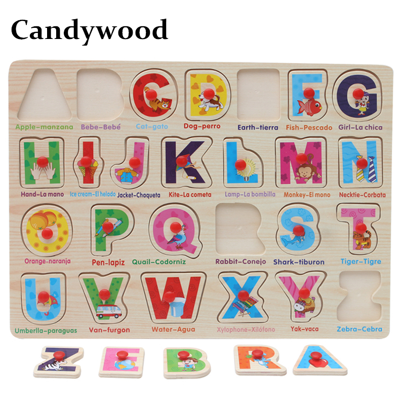 Candywood Spain Spanish and English words Jigsaw Puzzle learning toys children kids Hand ...