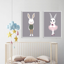 Nordic Cute Abstract Cartoon White Rabbit Boys And Girls Canvas Art Print Poster Picture Wall Children Bedroom Home Decoration