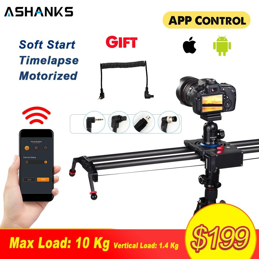 ASHANKS Bluetooth автоматизированный слайдер видео TimeLapse Электрический задержки углеродного рельса слайд стабилизатор для фотографии Canon DSLR камер...