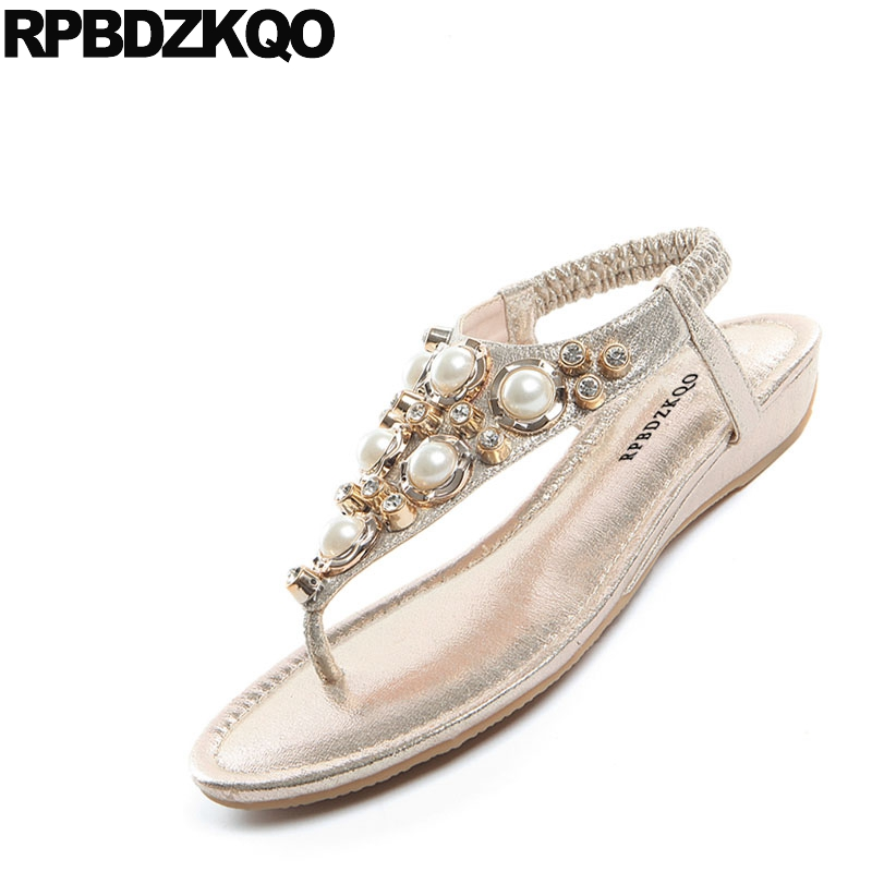 f753311fc23162 Soft Gold Thong Rhinestone Flat Women Crystal Holiday Pearl Silver T Strap  Diamond Shoes Sandals Leisure Fashion Bohemia Style-in Low Heels from Shoes  on ...