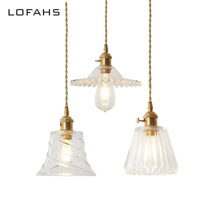 Lampe pendante traditionnelle Vintage lampes pendantes en cuivre ampoule Edison suspendue petite lampe en verre abat-jour chambre restaurant droplight