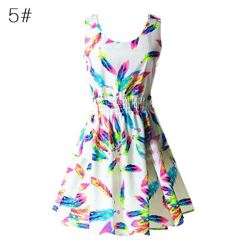 Summer Sexy Women Tank Chiffon Beach Party Dress Sleeveless Slim Bodycon Sundress Floral Mini Dresses M-XXL