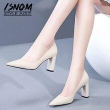 ISNOM/женские туфли-лодочки из лакированной кожи; обувь с острым носком; женская обувь на высоком каблуке; модная женская обувь; сезон весна; Новинка года