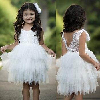 0804312a6 Puffy encaje perlas Rosa flor chica vestidos sin mangas 2019 suave tul  vestido de baile vestidos para niñas vestidos de comunión