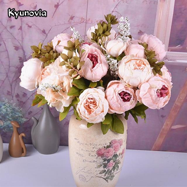 Kyunovia Artificial Flowers Vintage Champagne Blush Peony Silk