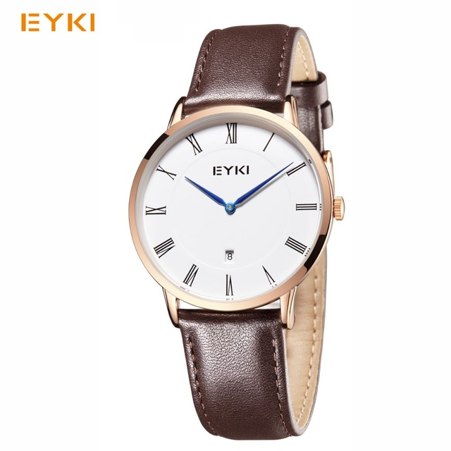 EYKI Men Leather Watches Classic Simple Lovers' Waterproof Watches Women Calenda