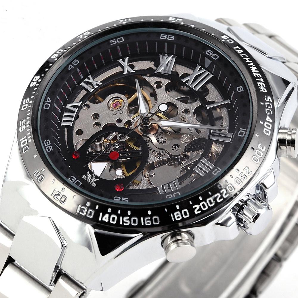 Prix pour Mode casual acier inoxydable hommes mâle squelette horloge sewor marque design élégant classique mécanique militaire poignet montre de sport