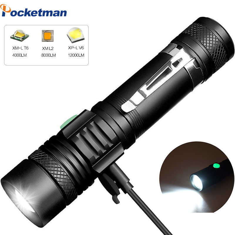 LED Flashlight  Rechargeable L2 Torch Light 60000LMs Long Range Outdoors WT