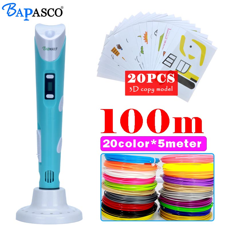 origianl bapasco 3D pen generation 2nd 100meter 20color ABS filament 3D printing pen,LCD display,diy drawing pen 3D printer 3d myriwell pen 2nd generation lcd display diy 3d printer pen with 100m abs pla filament magic 3d pens for kids drawing tools