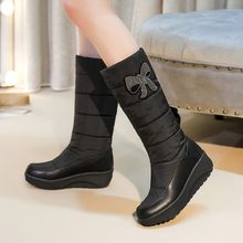 Big Size Euro-American style, sweet round head, low heel metal decorative boot jacket to keep warm(China)