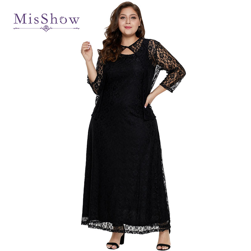 Black Lace Mother of the Bride Dresses Plus Size Elegant Long Sleeve Evening Formal Dress with Jacket Robe De Soiree