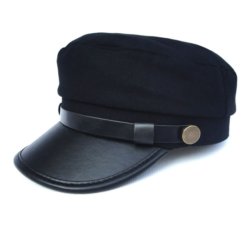 Unisex black flat navy hat cap women