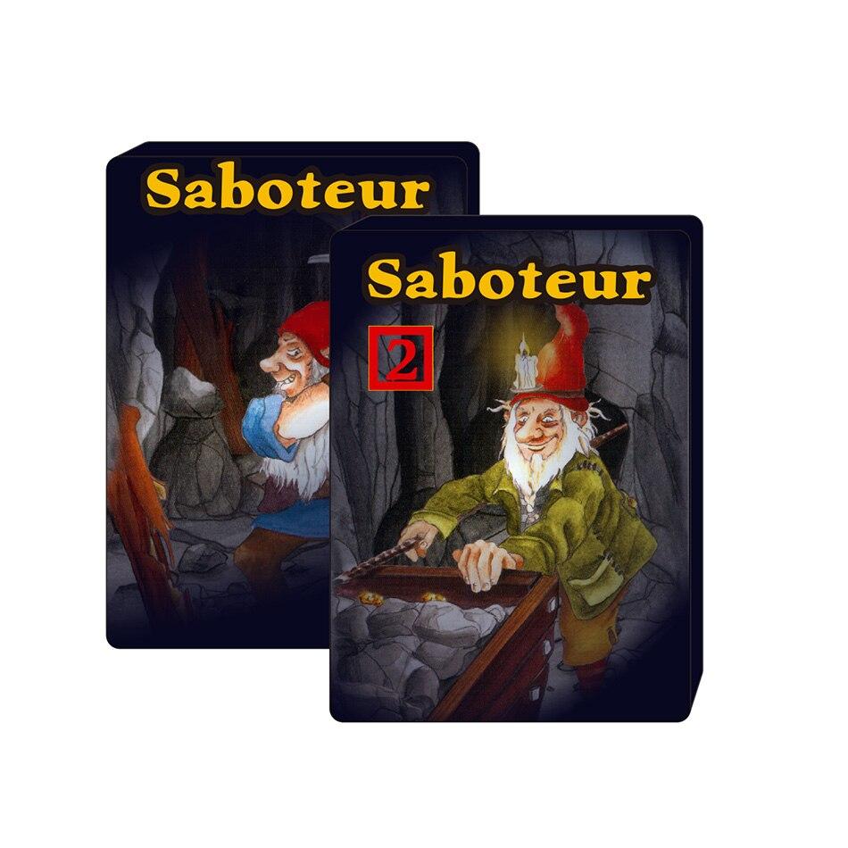 2018 Saboteur inglés completo 1 y saboteur 1 + 2 Juego de cartas jogos de tabuleiro dwarf miner jeu de base + juego de mesa de extensión