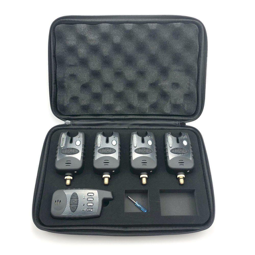 4 + 1 noir étanche sans fil carpe pêche morsure alarme sons et LED bande indicateur d'alarme avec lumière LED réglable Multi couleur