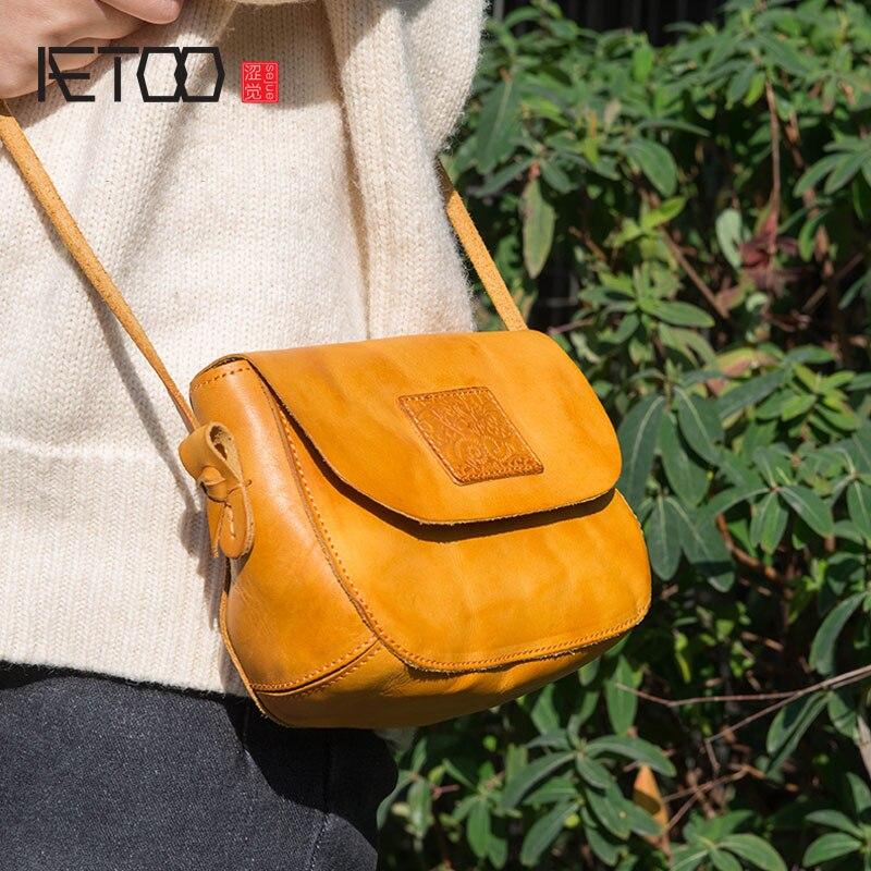 AETOO Original design handbags handmade leather casual Messenger bag Sen series literary retro leather mini saddle