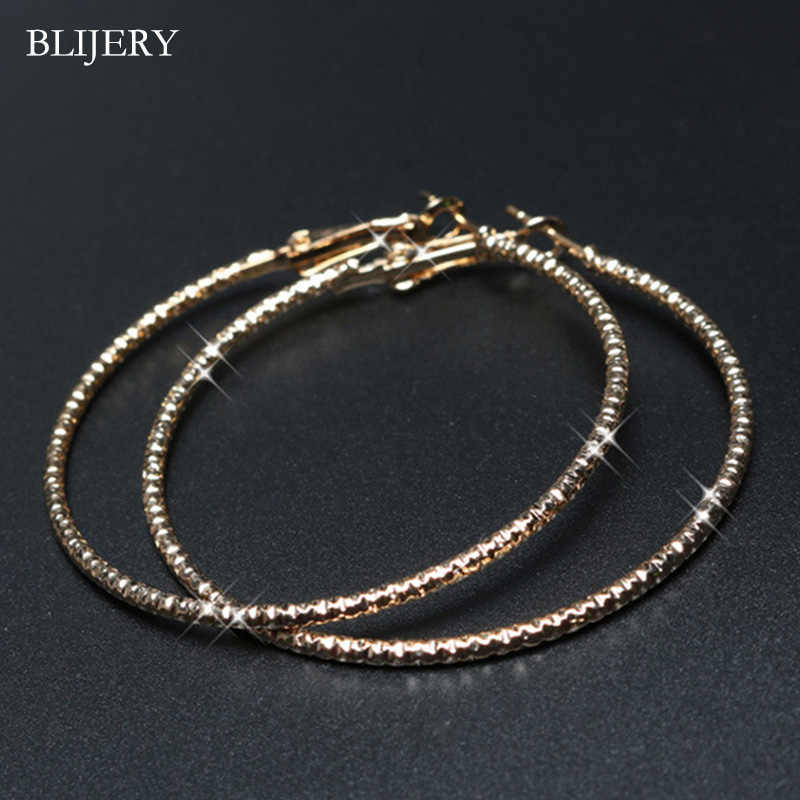 BLIJERY Cute Big Hoop Earrings for Women Starry Style Circle Earrings Celebrity Statement Earrings Aros Prom Party Jewelry Gifts