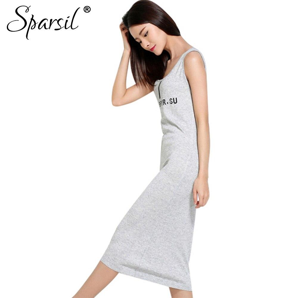Sparsil Women's Spring O-neck Sleeveless Knee-Length Cotton Blend Knitted Dress Elegant Letter Slim Style Dresses