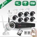 Novo! 720 P HD Câmera de Vigilância de Segurança Ao Ar Livre À Prova de Intempéries Night Vision-IR & Plug And Play NVR CCTV 8CH Sem Fio sistema + 2 1TBHDD