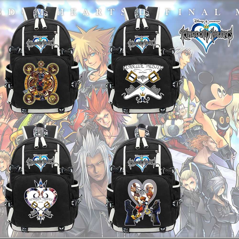 Game Kingdom Hearts III Sora Canvas Backpack Teenage Student Zipper School bag Packsack Laptop bag Cosplay Book bag RucksackGame Kingdom Hearts III Sora Canvas Backpack Teenage Student Zipper School bag Packsack Laptop bag Cosplay Book bag Rucksack