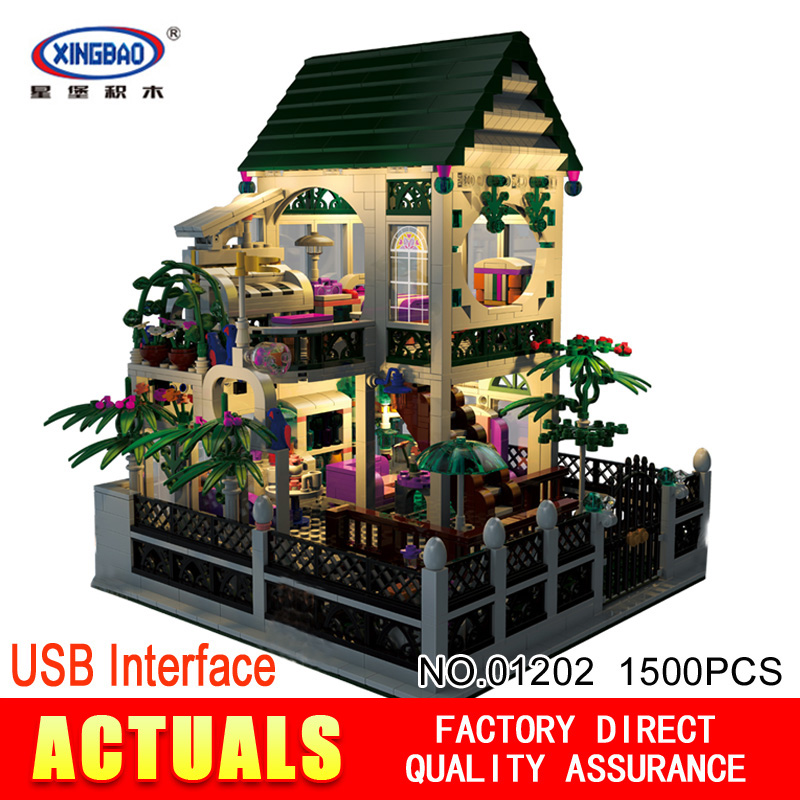XingBao 01202 1500Pcs with light USB the Romantic heart of the Two floors of Building Block Bricks for children's toys XB-01202 two from the heart