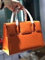 100% genuine real ostrich skin women tote bag top level quality full grain Ostrich skin women tote handbag orange purple pink