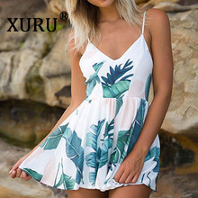XURU new hot sexy V-neck jumpsuit strap print loose seaside holiday one-piece shorts