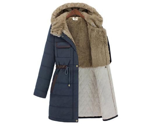 2016 Nuevo estilo Americano Europeo cálido espesar abrigos de invierno cordón hembra más el Terciopelo con capucha acolchada largas secciones abrigo