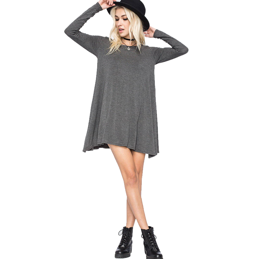 <font><b>Big</b></font> <font><b>Size</b></font> Women <font><b>Dress</b></font> Autumn Style Cotton T-Shirt Gray Black Club <font><b>Sexy</b></font> Long Sleeve Casual Fashion Female Long Plus <font><b>Size</b></font> <font><b>Dresses</b></font> image