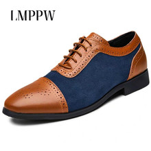 Classic Oxford Shoes for Men Brogue Fashion Vintage Leather Casual Breathable Dress Zapatos De Hombre
