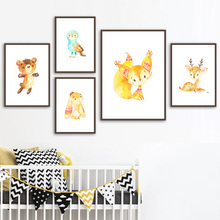 Cartoon Bear Rabbit Fox Deer Owl Nursery Wall Art Canvas Painting Nordic Posters And Prints Wall Pictures Baby Kids Room Decor цена и фото