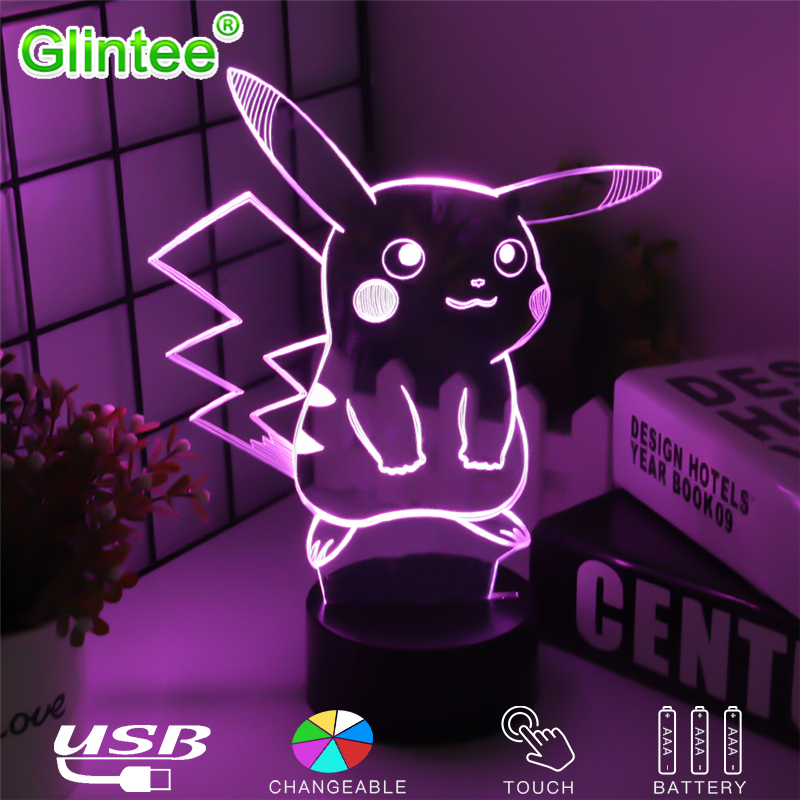 где купить Pikachu Figure 3D Atmosphere Illusion Lamps Nightlight Pokemon Go Night Lights Kids Gifts Cartoon Pattern Desk Luminous Lighting по лучшей цене