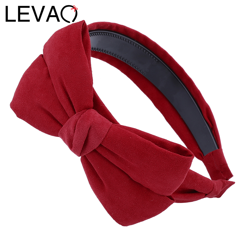 LEVAO Vintage Wide Suede Knotted Headband Autumn Winter Velvet Fabric Women Hairband Big Bow Ties Hair Accessories For Girls