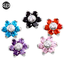 1PC Titanium Dermal Micro Piercing Flower Crystal Dermal Piercing Tops Skin Diver Piercings Surface Hide it Sexy Body Jewelry