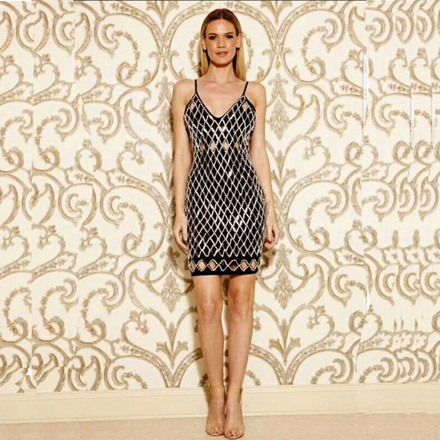 71d324cdefa79 New Design Summer Women Sexy Spaghetti Strap Bandage Dress Hollow Out V  Neck With Decorations Dresses Celebrity Party Vestido