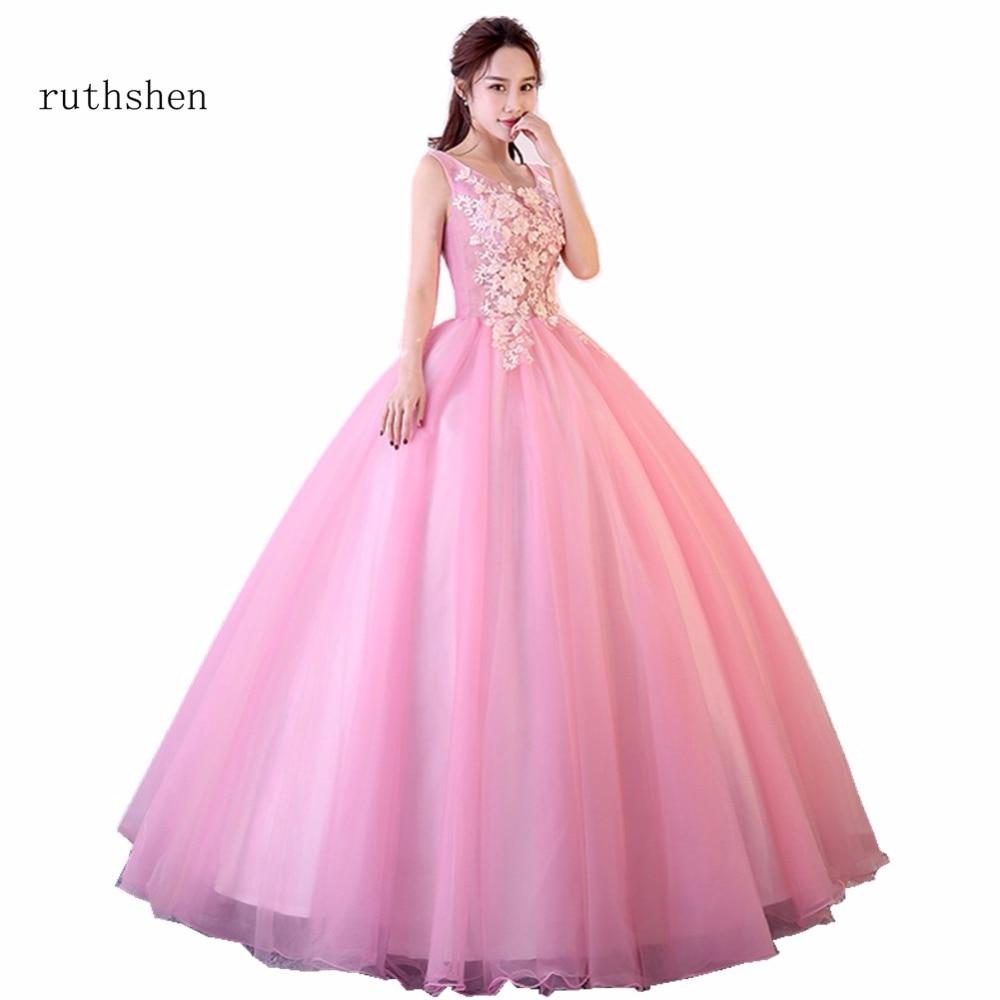 Ruthshen Quinceanera 2018 Robes Doux 16 Robes De Bal 100% Réel Photo En Stock Pas Cher Appliques Quinceanera Robes Nouveautés