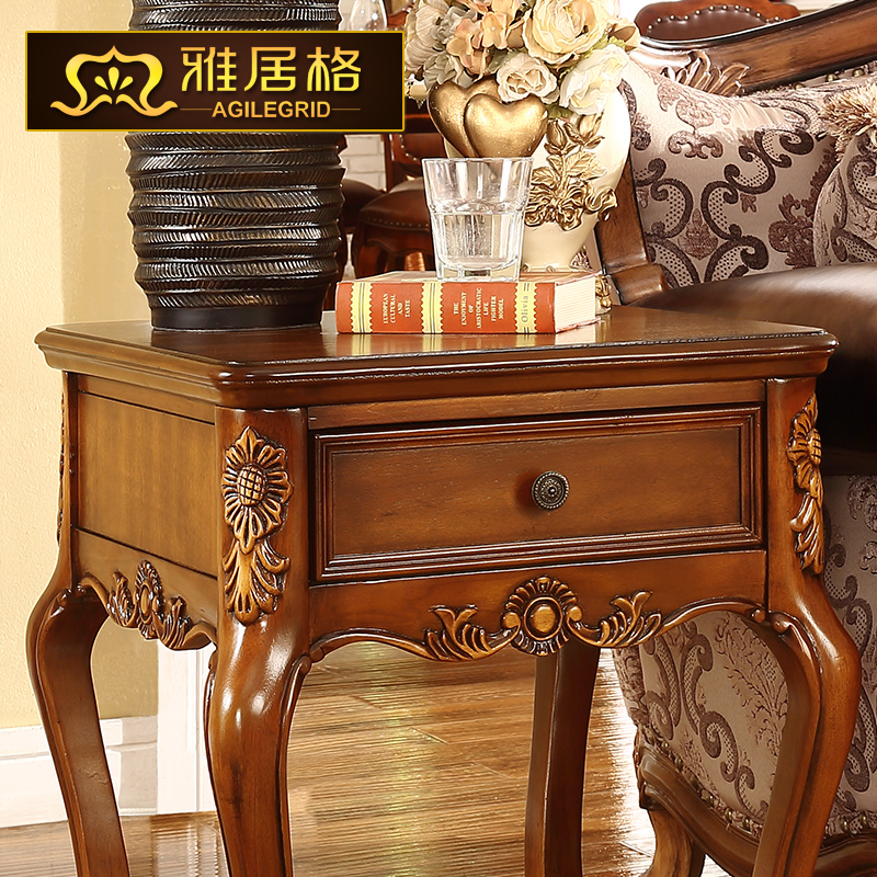 Continental american wood side a few corner small coffee - Corner tables for living room online ...