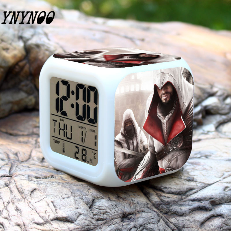 YNYNOO Assassins Creed Blade Action Figure Toy Kids Led Alarm Clock 7 colors change Anime Game Peripherals Toys Children Gift