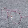 Maquiagem Rosa de Ouro Óculos de Armação Mulheres Óculos Transparentes Para Senhoras Topo Plano Piloto Prescrição Armações de Óculos de Miopia Do Vintage