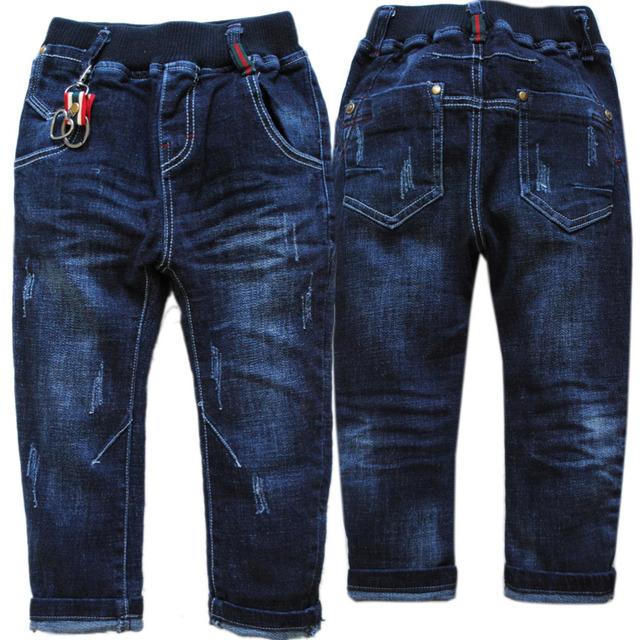 4017 de mezclilla suave niño pantalones vaqueros pantalones niños pantalones azul marino primavera y otoño moda niños nuevos niños 2017 de LAVADO NO SE DESVANECEN